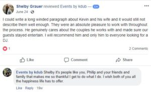 Events Review from facebook about great wedding services. DJ Kdub, MC, DJ, Music, Oregon, Entertainment, Receptions, Weddings, Speaker system, Reviews Kevin Wise; Events by Kdub; Oregon DJ; Wedding DJ; Professional wedding mc; Dance Wedding Reception;